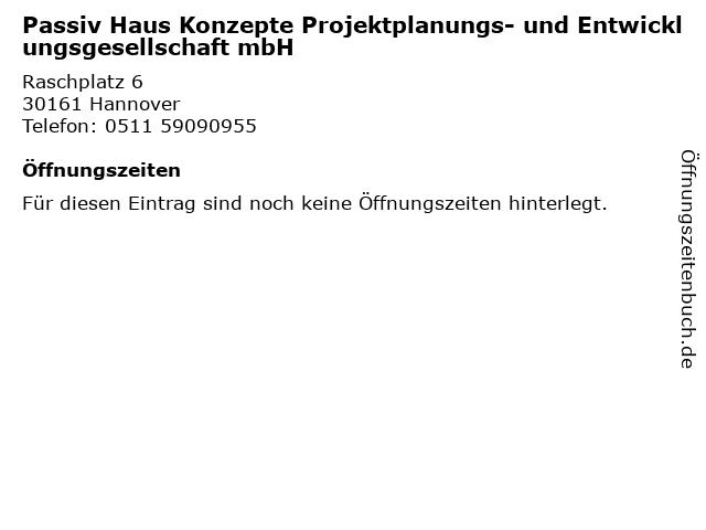 Passiv Haus Konzepte Projektplanungs- und Entwicklungsgesellschaft mbH in Hannover: Adresse und Öffnungszeiten