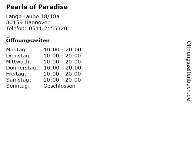 Pearls of Paradise in Hannover: Adresse und Öffnungszeiten