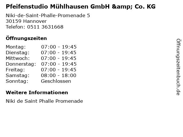 Pfeifenstudio Mühlhausen GmbH & Co. KG in Hannover: Adresse und Öffnungszeiten