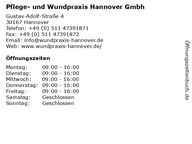 Pflege- und Wundpraxis Hannover Gmbh in Hannover: Adresse und Öffnungszeiten