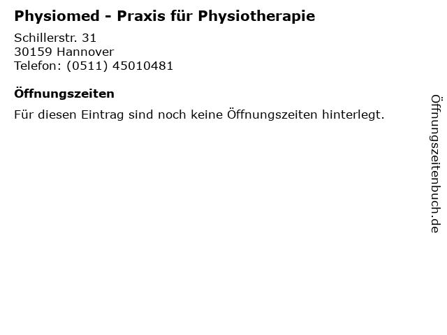 Physiomed - Praxis für Physiotherapie in Hannover: Adresse und Öffnungszeiten