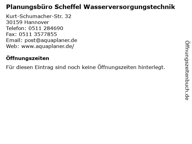 Planungsbüro Scheffel Wasserversorgungstechnik in Hannover: Adresse und Öffnungszeiten
