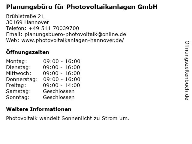 Planungsbüro für Photovoltaikanlagen GmbH in Hannover: Adresse und Öffnungszeiten