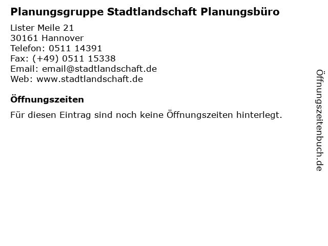 Planungsgruppe Stadtlandschaft Planungsbüro in Hannover: Adresse und Öffnungszeiten