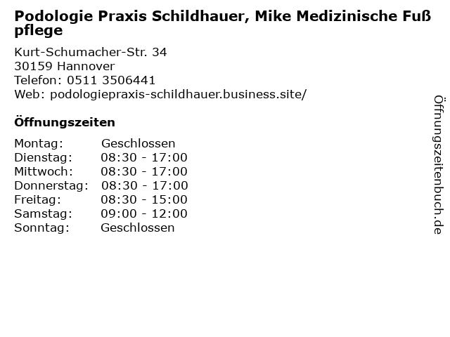 Podologie Praxis Schildhauer, Mike Medizinische Fußpflege in Hannover: Adresse und Öffnungszeiten