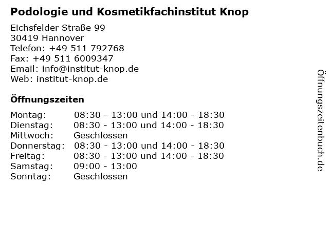 Podologie und Kosmetikfachinstitut Knop in Hannover: Adresse und Öffnungszeiten