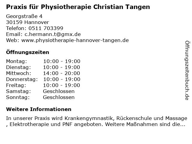 Praxis für Physiotherapie Christian Tangen in Hannover: Adresse und Öffnungszeiten