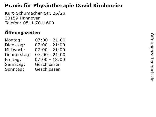 Praxis für Physiotherapie David Kirchmeier in Hannover: Adresse und Öffnungszeiten