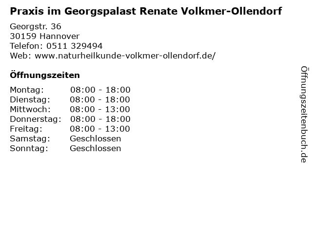 Praxis im Georgspalast Renate Volkmer-Ollendorf in Hannover: Adresse und Öffnungszeiten