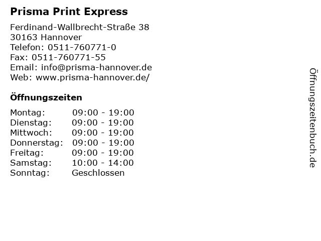 Prisma Print Express in Hannover: Adresse und Öffnungszeiten