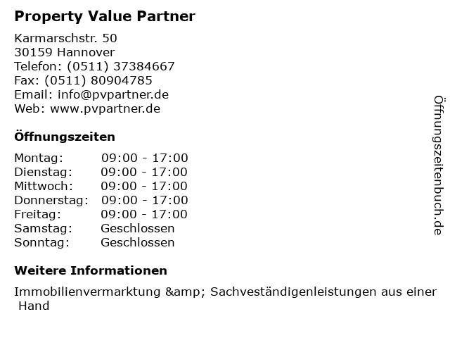 Property Value Partner in Hannover: Adresse und Öffnungszeiten