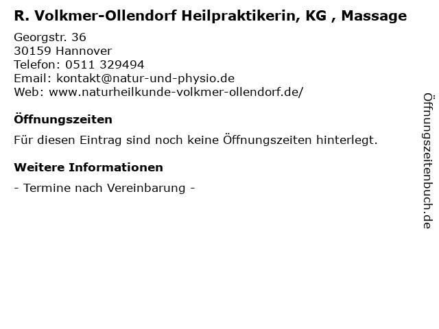 R. Volkmer-Ollendorf Heilpraktikerin, KG , Massage in Hannover: Adresse und Öffnungszeiten