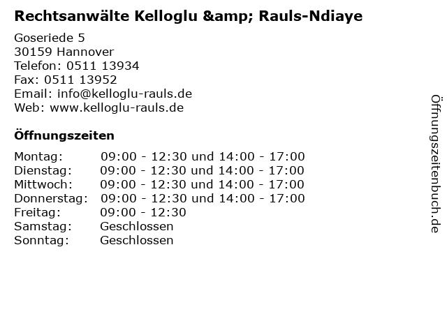 Rechtsanwälte Kelloglu & Rauls-Ndiaye in Hannover: Adresse und Öffnungszeiten