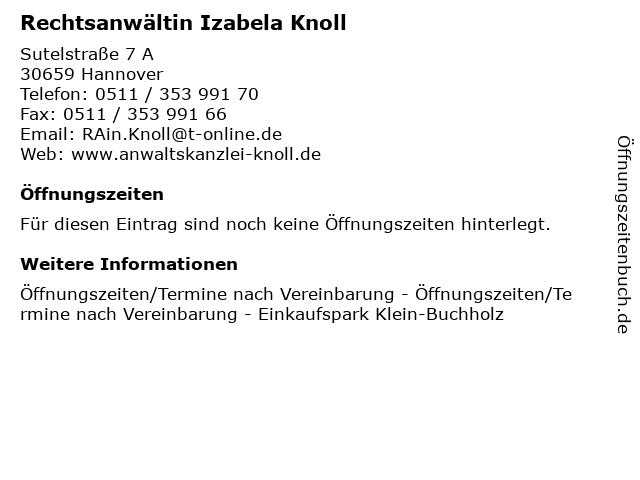 Rechtsanwältin Izabela Knoll in Hannover: Adresse und Öffnungszeiten