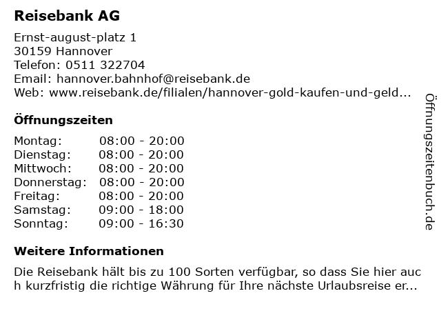 ReiseBank AG in Hannover: Adresse und Öffnungszeiten