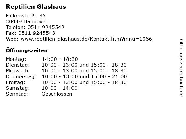Reptilien Glashaus in Hannover: Adresse und Öffnungszeiten