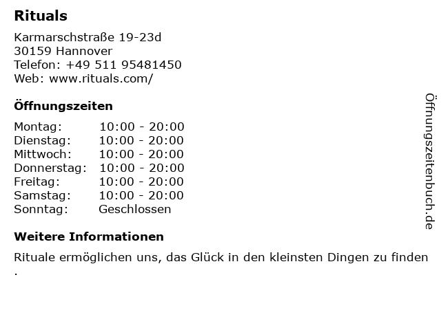 Rituals Cosmetics Germany GmbH in Hannover: Adresse und Öffnungszeiten