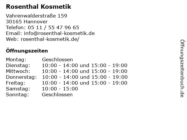 Rosenthal Kosmetik in Hannover: Adresse und Öffnungszeiten