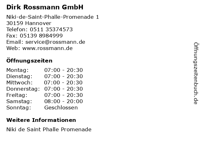 Dirk Rossmann GmbH in Hannover: Adresse und Öffnungszeiten