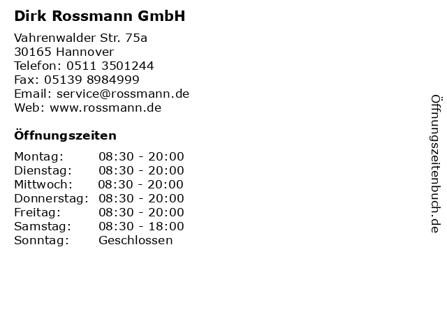 Rossmann in Hannover: Adresse und Öffnungszeiten