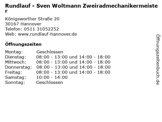 Rundlauf - Sven Woltmann Zweiradmechanikermeister in Hannover: Adresse und Öffnungszeiten