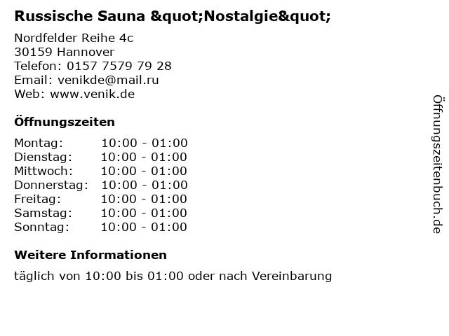 """Russische Sauna """"Nostalgie"""" in Hannover: Adresse und Öffnungszeiten"""