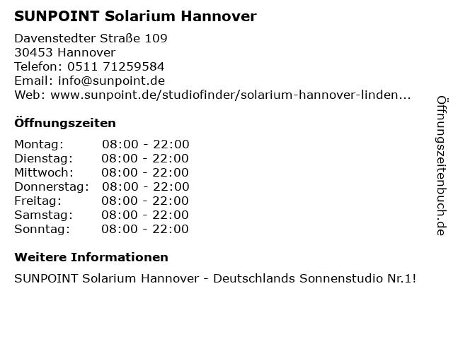 SUNPOINT Solarium Hannover in Hannover: Adresse und Öffnungszeiten