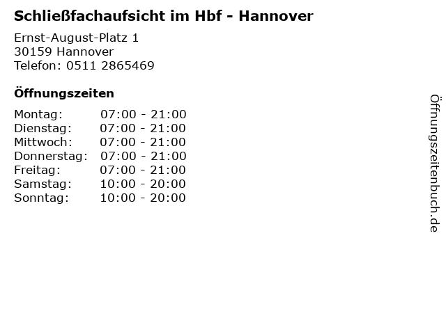 Schließfachaufsicht im Hbf - Hannover in Hannover: Adresse und Öffnungszeiten