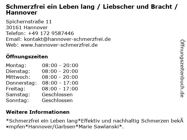 Schmerzfrei ein Leben lang / Liebscher und Bracht / Hannover in Hannover: Adresse und Öffnungszeiten