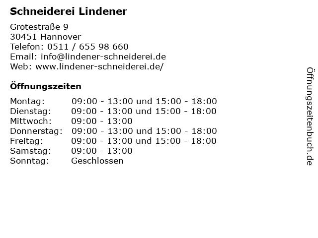 Schneiderei Lindener in Hannover: Adresse und Öffnungszeiten