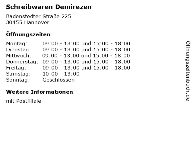 Schreibwaren Demirezen in Hannover: Adresse und Öffnungszeiten