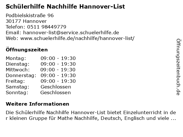 Schülerhilfe in Hannover: Adresse und Öffnungszeiten