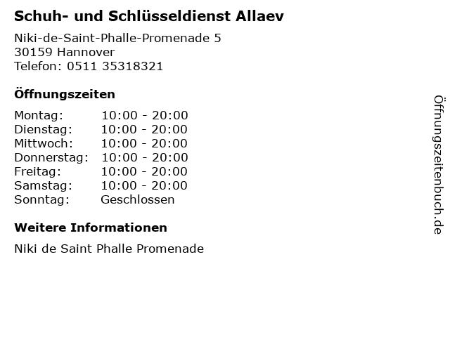 Schuh- und Schlüsseldienst Allaev in Hannover: Adresse und Öffnungszeiten