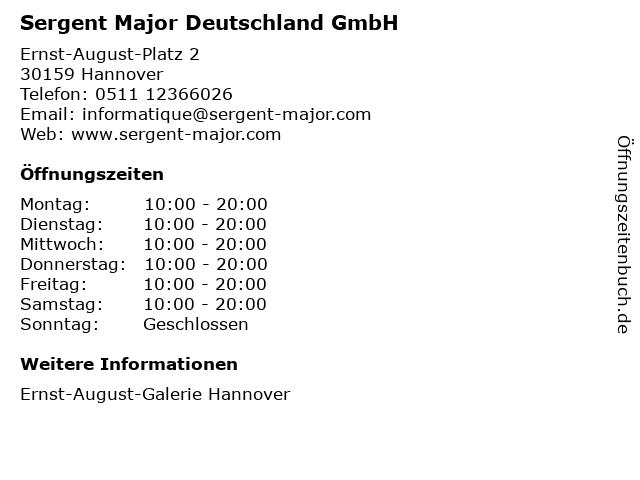 Sergent Major Deutschland GmbH in Hannover: Adresse und Öffnungszeiten