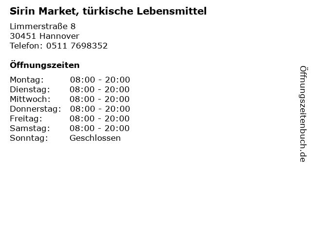 Sirin Market, türkische Lebensmittel in Hannover: Adresse und Öffnungszeiten