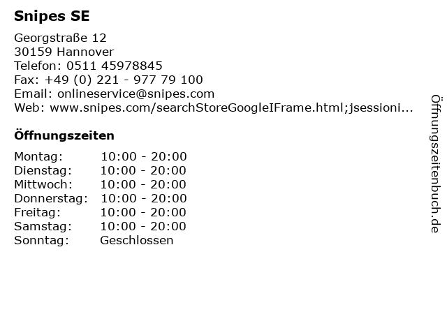 Snipes SE in Hannover: Adresse und Öffnungszeiten