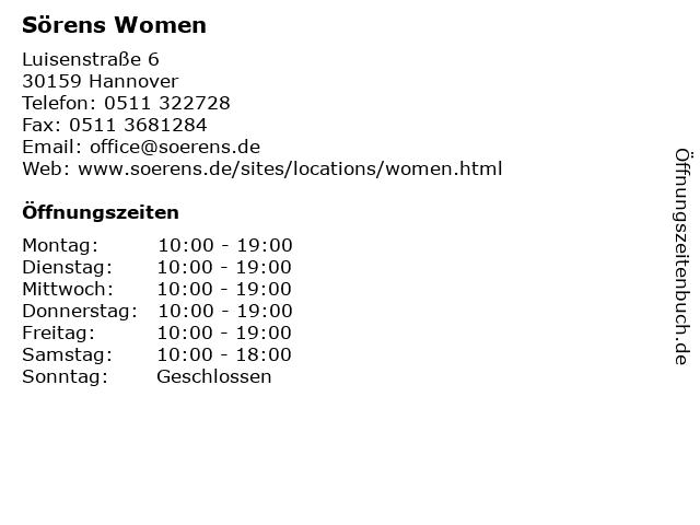 Sörens Women in Hannover: Adresse und Öffnungszeiten