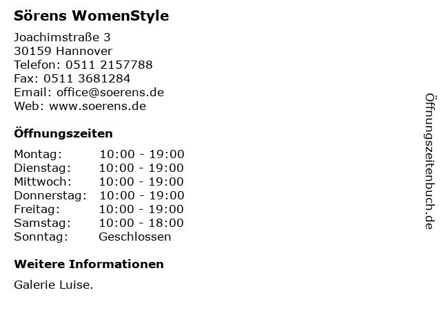 Sörens WomenStyle in Hannover: Adresse und Öffnungszeiten