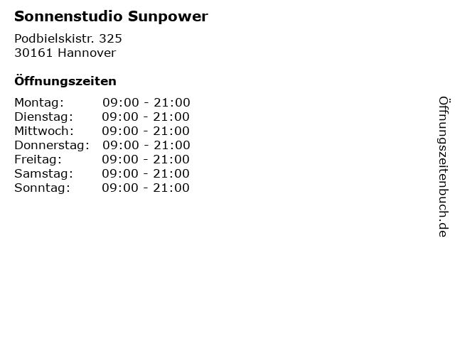Sonnenstudio Sunpower in Hannover: Adresse und Öffnungszeiten