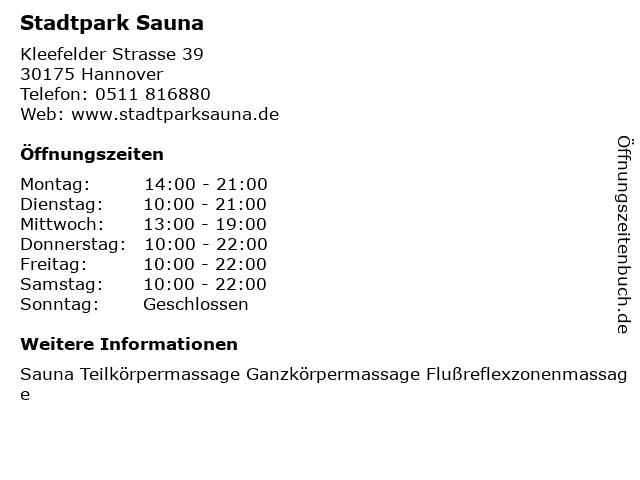 Stadtpark Sauna in Hannover: Adresse und Öffnungszeiten