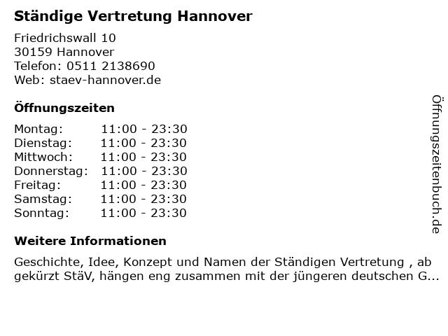 Ständige Vertretung Hannover in Hannover: Adresse und Öffnungszeiten