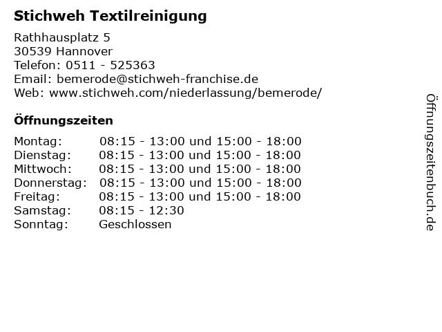 Stichweh Textilreinigung in Hannover: Adresse und Öffnungszeiten