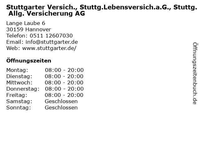 Stuttgarter Versich., Stuttg.Lebensversich.a.G., Stuttg. Allg. Versicherung AG in Hannover: Adresse und Öffnungszeiten