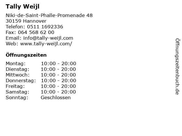 Tally Weijl in Hannover: Adresse und Öffnungszeiten