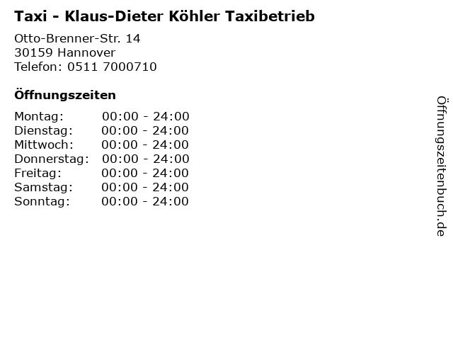 Taxi - Klaus-Dieter Köhler Taxibetrieb in Hannover: Adresse und Öffnungszeiten