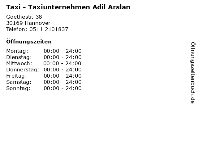 Taxi - Taxiunternehmen Adil Arslan in Hannover: Adresse und Öffnungszeiten