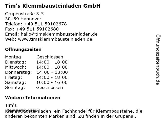 Tim's Klemmbausteinladen GmbH in Hannover: Adresse und Öffnungszeiten