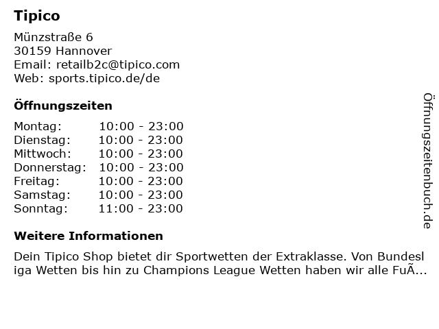 Tipico Wettbüro in Hannover: Adresse und Öffnungszeiten