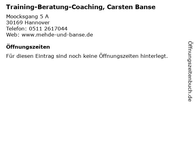 Training-Beratung-Coaching, Carsten Banse in Hannover: Adresse und Öffnungszeiten