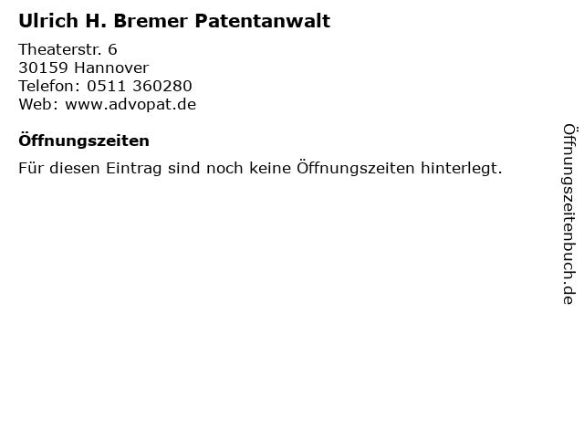 Ulrich H. Bremer Patentanwalt in Hannover: Adresse und Öffnungszeiten
